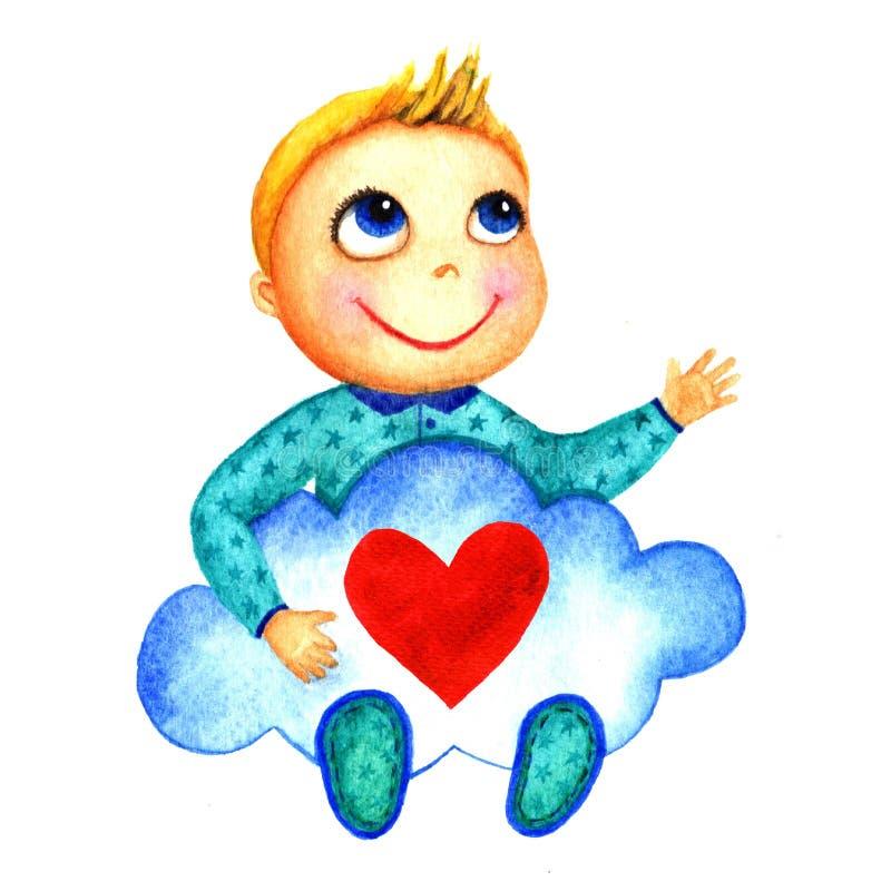 Один маленький милый усмехаясь мальчик держа большое голубое облако с сердцем в его руках Младенцы призрения Мечты и надежды ребе бесплатная иллюстрация