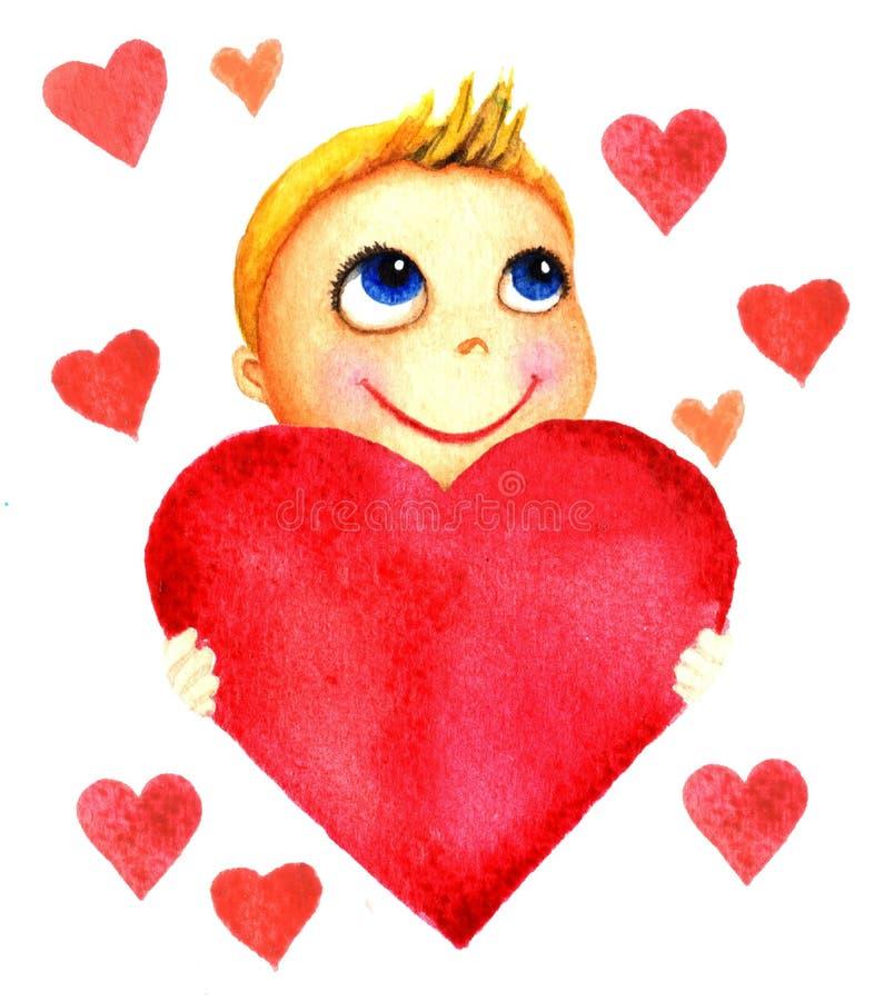 Один маленький милый усмехаясь мальчик держа большое красное сердце в его руках Младенец призрения Мечты и надежды ребенк получит иллюстрация штока
