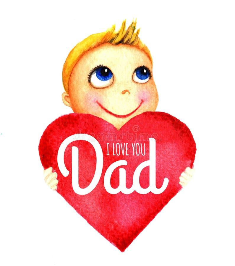 Один маленький милый усмехаясь мальчик держа большое красное сердце с словами в его руках папа я тебя люблю Счастливый более дале бесплатная иллюстрация