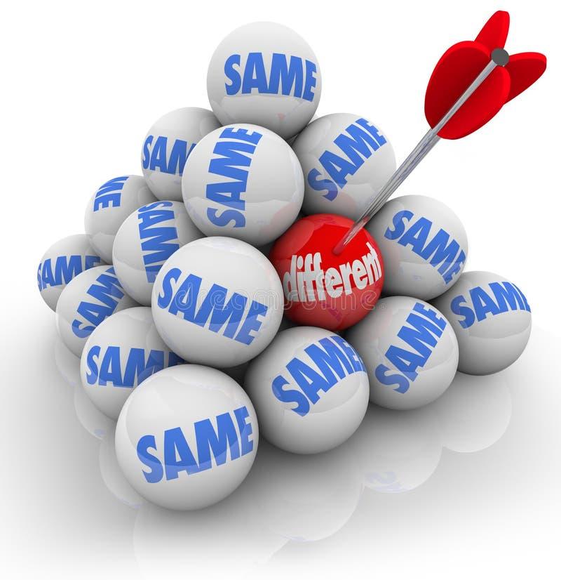 Один прицеленный шарик различный против таких же нововведение изменения иллюстрация штока