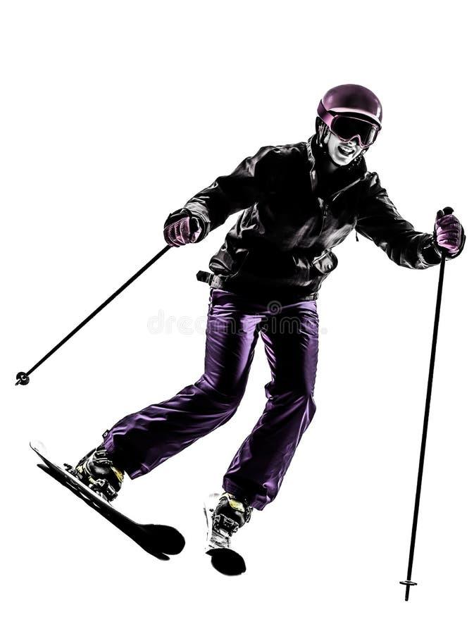 Один силуэт катания на лыжах лыжника женщины стоковое изображение rf