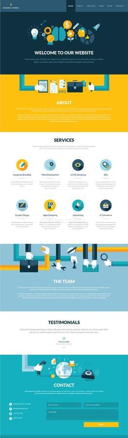 Один шаблон дизайна вебсайта страницы в плоском стиле дизайна иллюстрация вектора