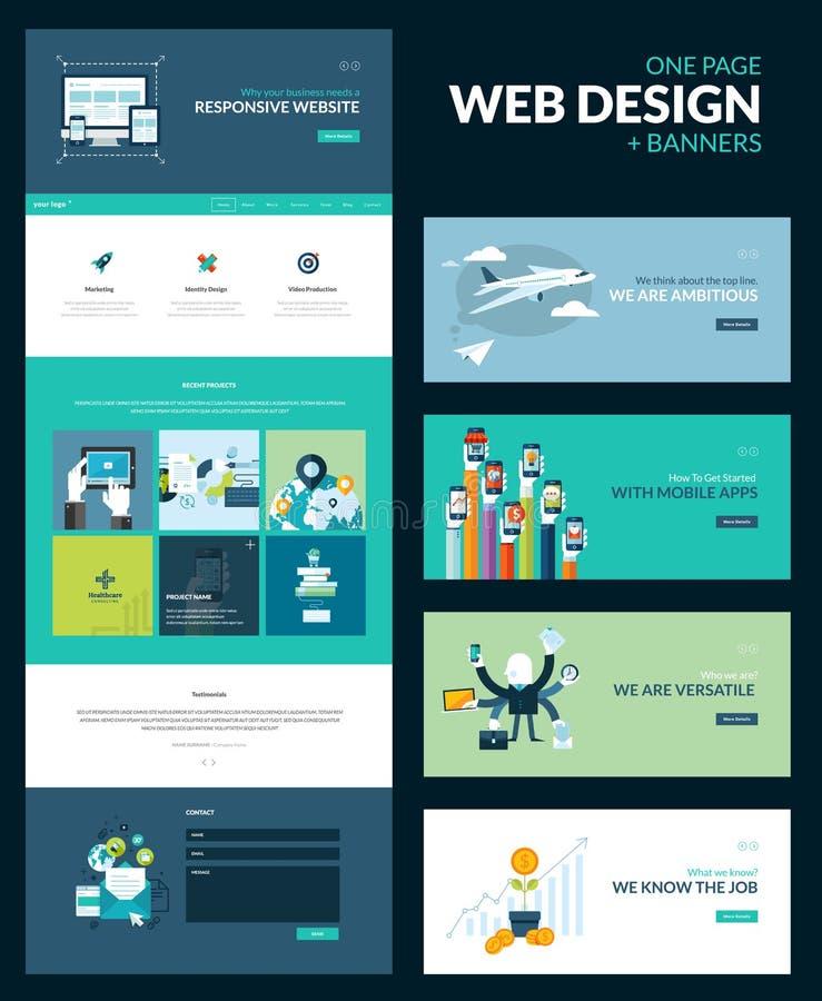 Один шаблон дизайна вебсайта страницы иллюстрация вектора