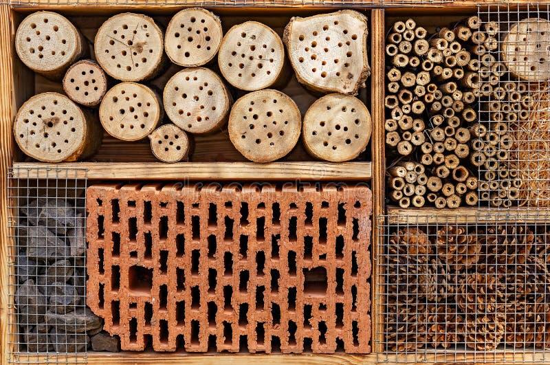 Одичалая гостиница пчелы - гостиница насекомого - деталь стоковое изображение rf