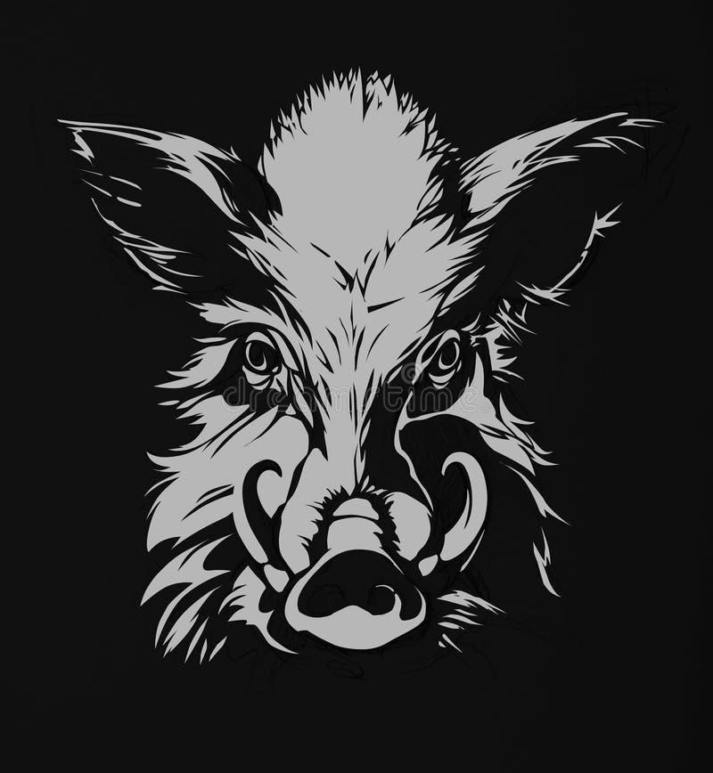Одичалая свинья, хряк иллюстрация вектора