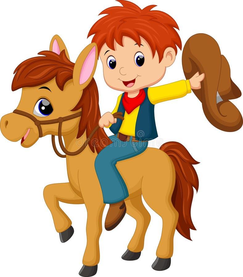 одичалое серии riding лошади ковбоя западное иллюстрация штока