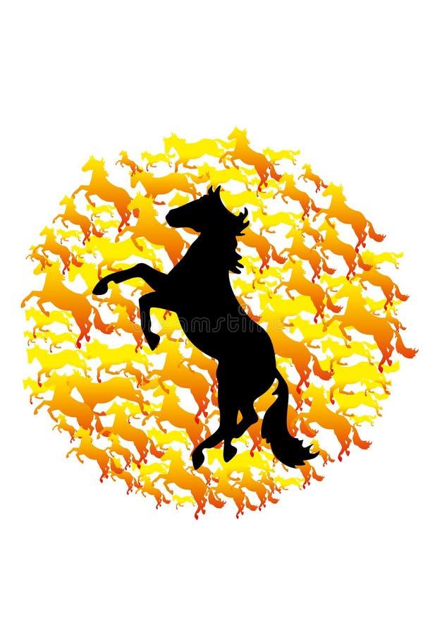 Одичалые абстрактные лошади иллюстрация вектора