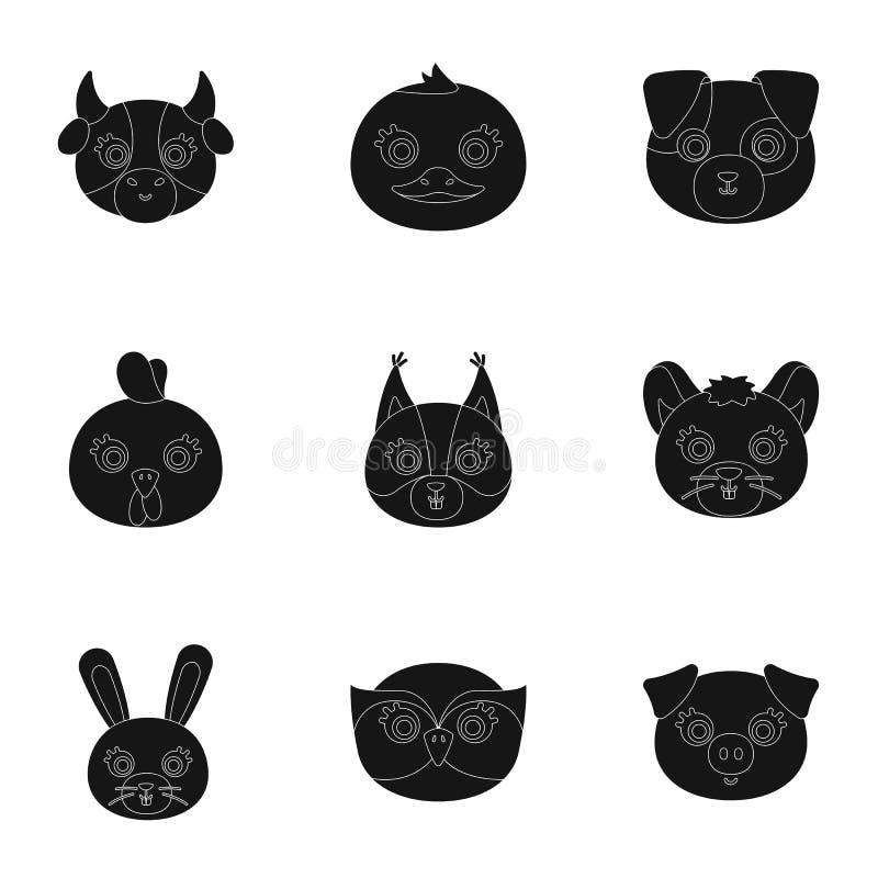 Одичалые и домашние животные Комплект изображений о животных Животный значок намордника в собрании комплекта на черном векторе ст иллюстрация штока