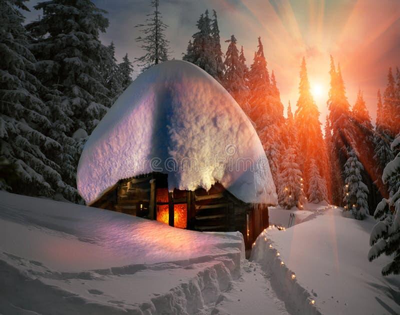 Одичалый охотничий домик бесплатная иллюстрация