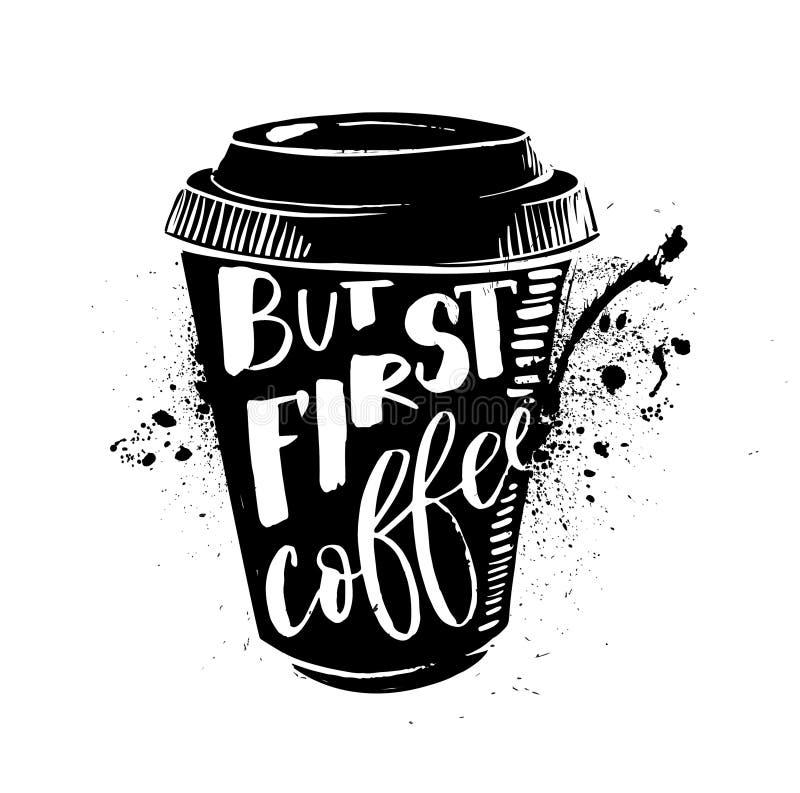 О'КЕЙ, но первый кофе помадка чашки круасанта кофе пролома предпосылки Литерность на комплекте формы чашки Современная цитата сти бесплатная иллюстрация