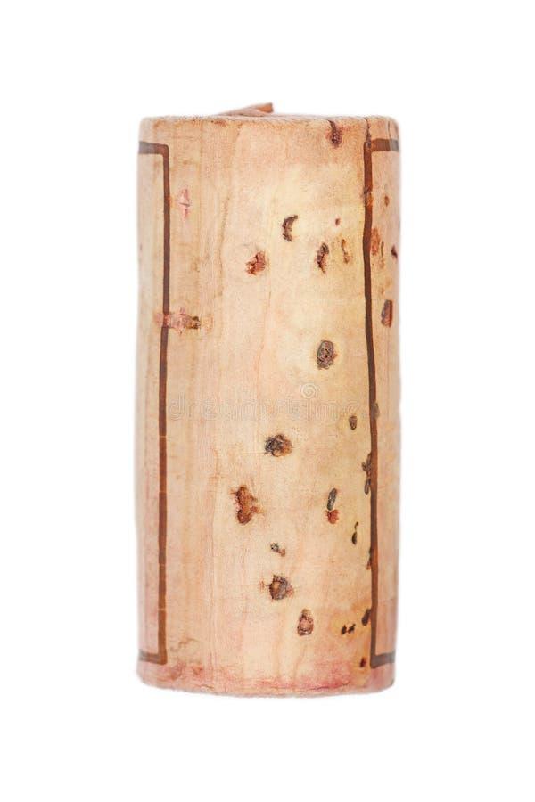 Одна деревянная пробочка изолированная на белизне стоковое фото