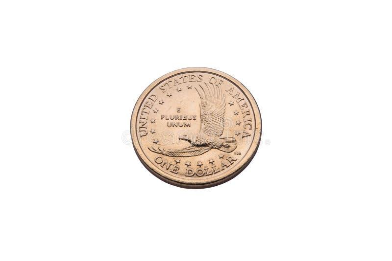 Одна золотая монетка доллара стоковые фотографии rf