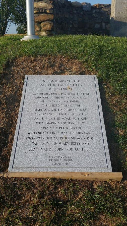 Одна из 2 памятных досок в отношении сражения Caulksfield стоковая фотография