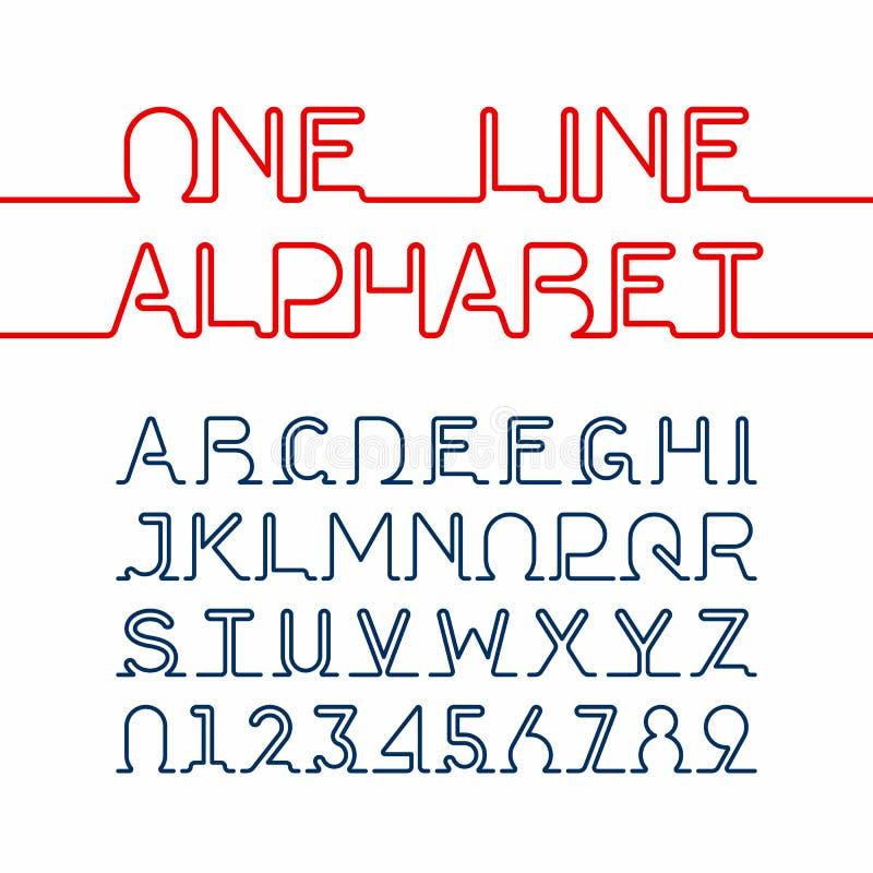 Одна линия шрифт бесплатная иллюстрация