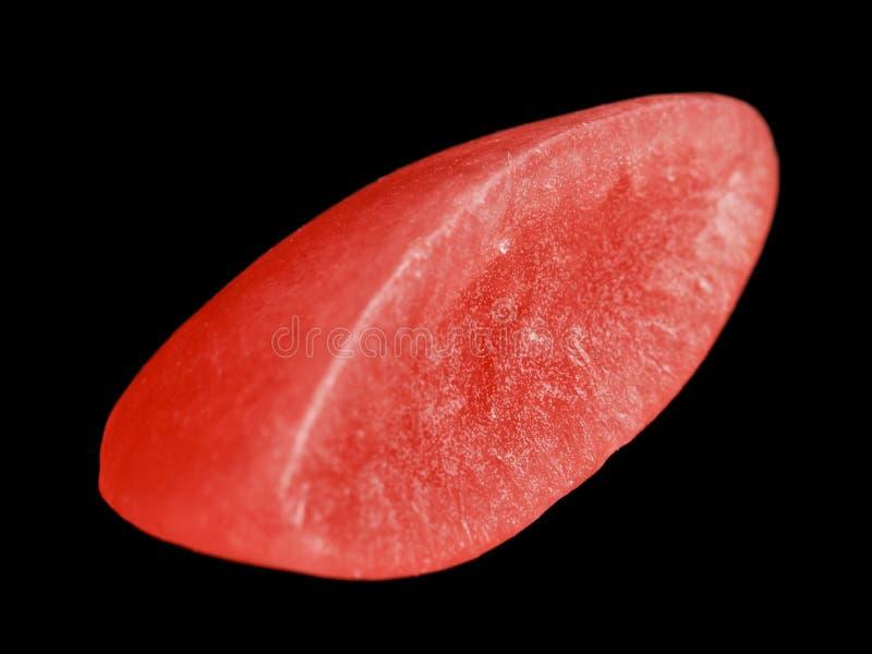 Одна красная шведская конфета изолированная на черной предпосылке стоковые изображения