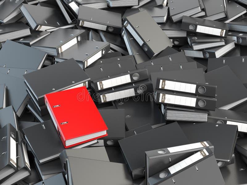 Одна красные связыватель офиса и куча черноты другие архитектурноакустически Файл s бесплатная иллюстрация
