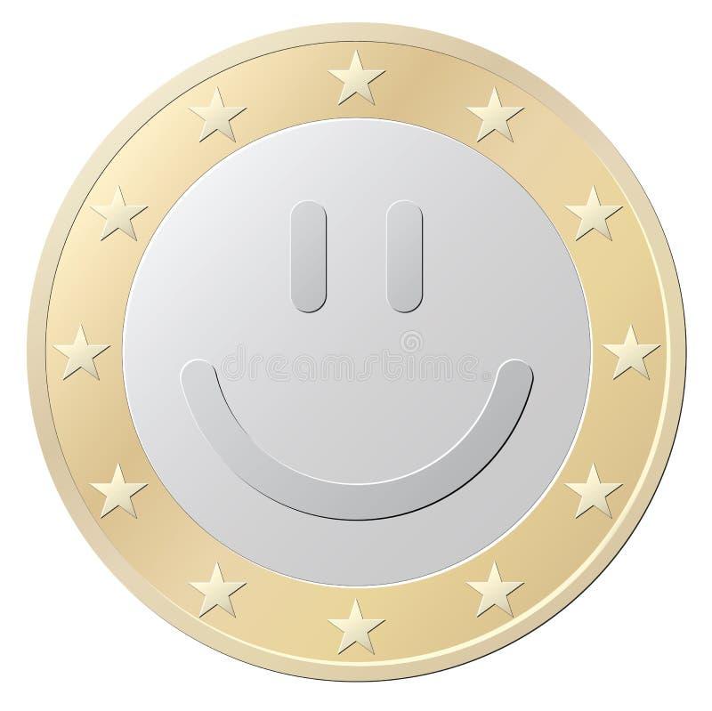 Одна монетка улыбки евро иллюстрация штока