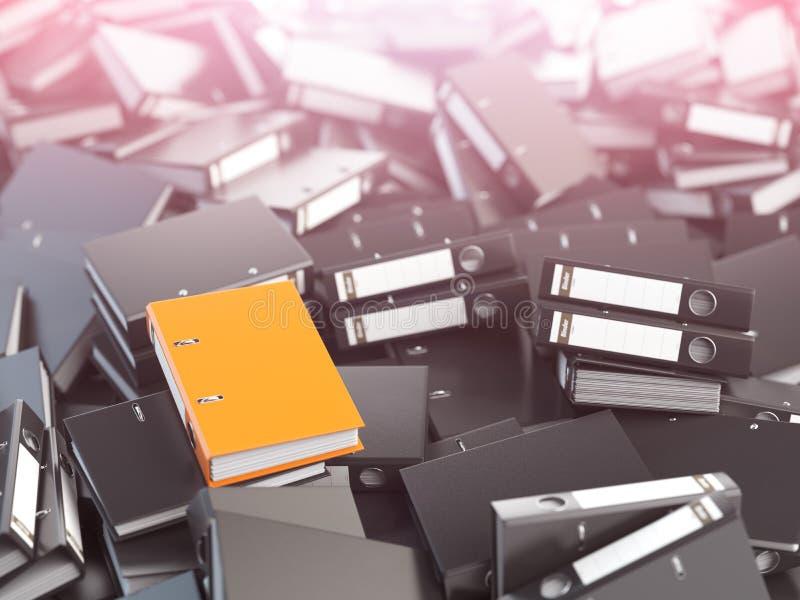 Одна оранжевые связыватель офиса и куча черноты другие иллюстрация штока