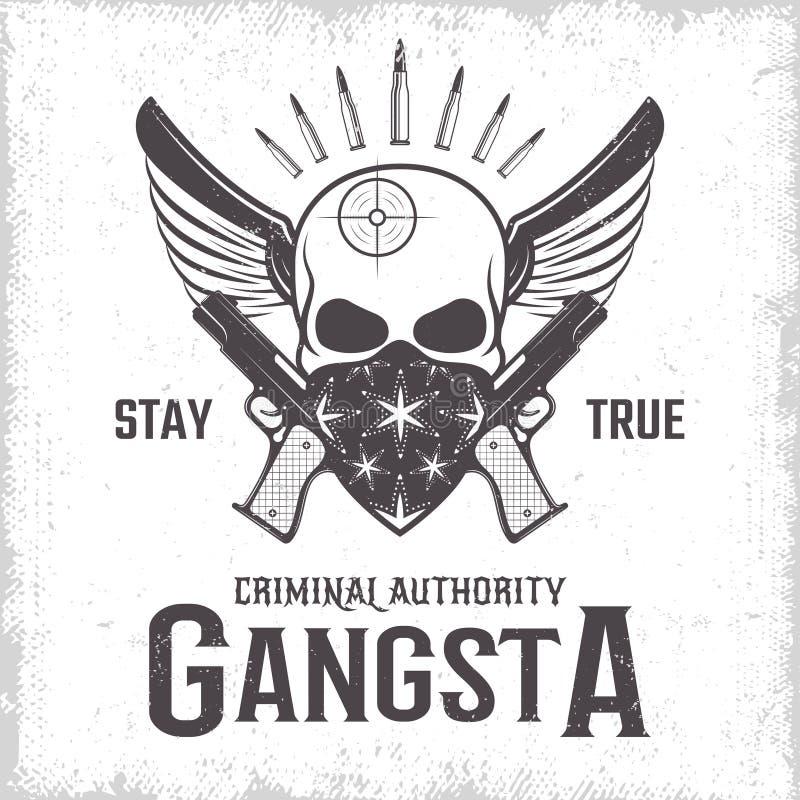 Однокрасочный оттиск гангстера иллюстрация штока