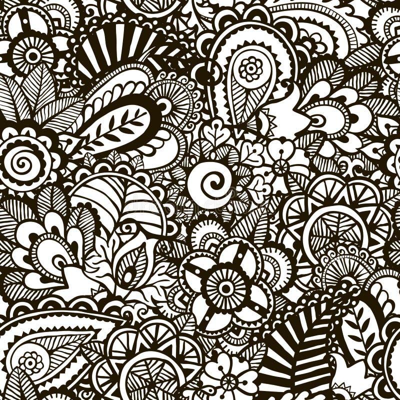 Однокрасочный оттиск Doodle.  Безшовная предпосылка. иллюстрация вектора