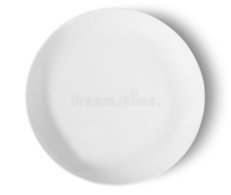 Одно белое взгляд сверху плиты фарфора стоковое изображение rf