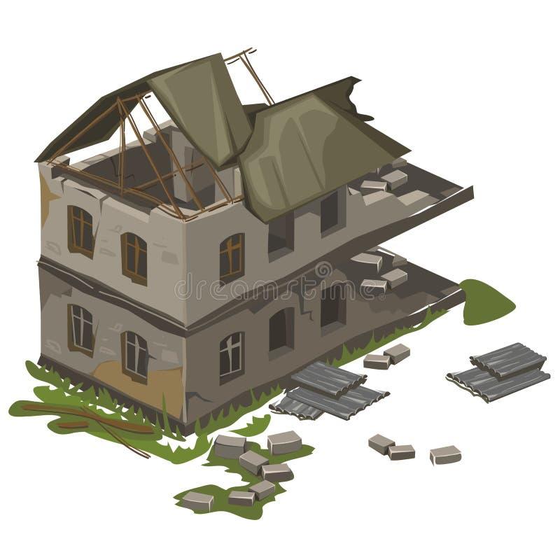 Одно изолированное здание разрушенное 2-этажом, вектор иллюстрация вектора