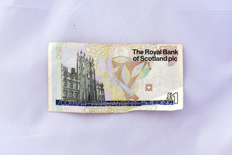 Одно примечание фунта (стерлинговая валюта) стоковая фотография rf