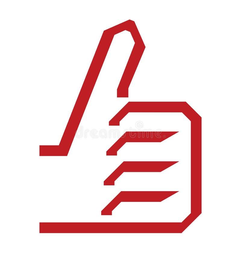 Одобренный большой палец руки вверх по значку иллюстрация вектора