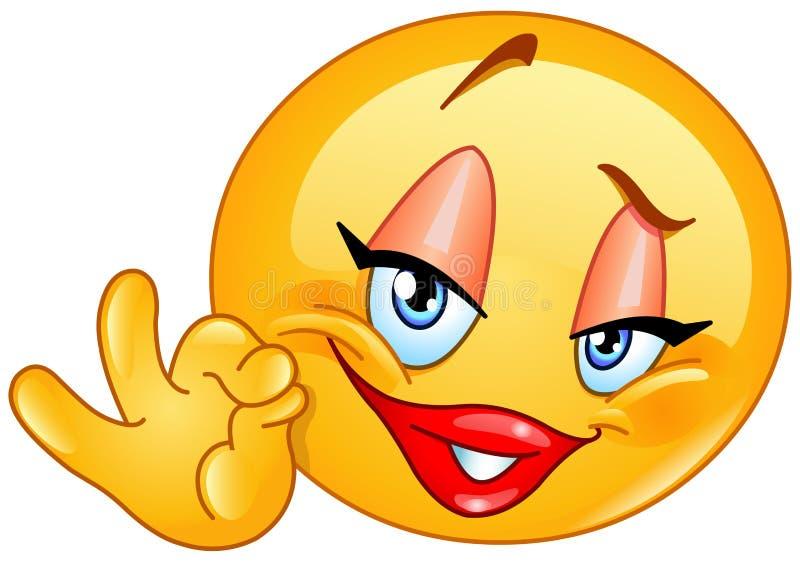Одобренный смайлик женщины знака иллюстрация штока