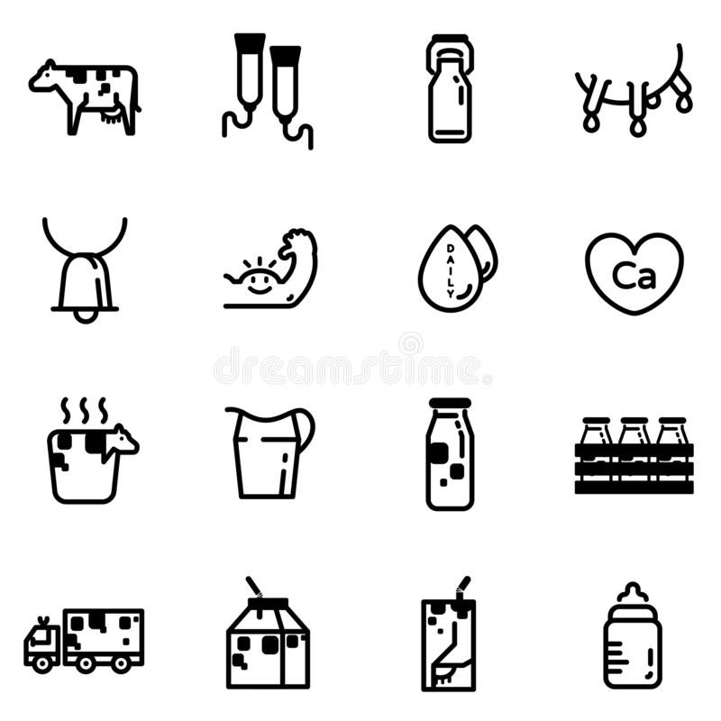 Набор значка молока иллюстрация вектора
