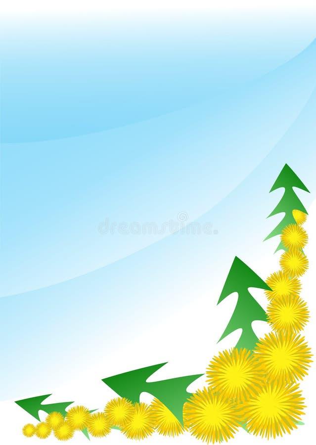 Одуванчики с листьями стоковое изображение rf