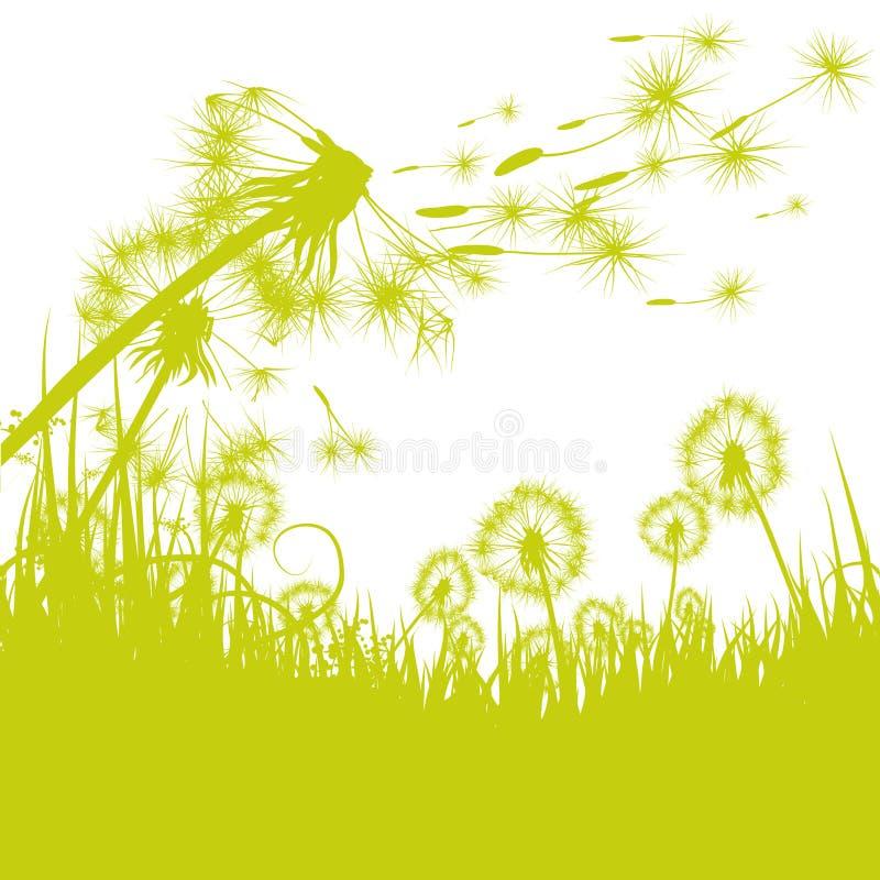 Одуванчик в ветре иллюстрация штока