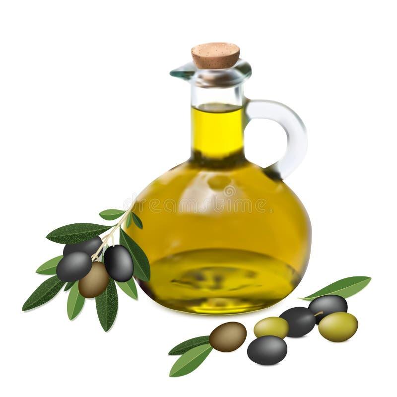 Оlive gałązka oliwna i olej ilustracja wektor
