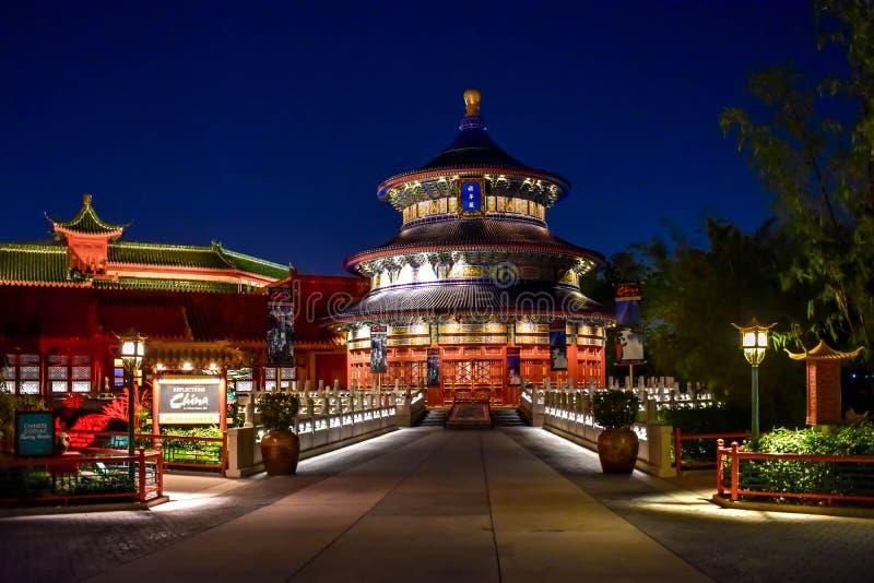 Павильон Китая на голубом atEpcot предпосылки ночи в мире 2 Уолт Дисней стоковое фото rf