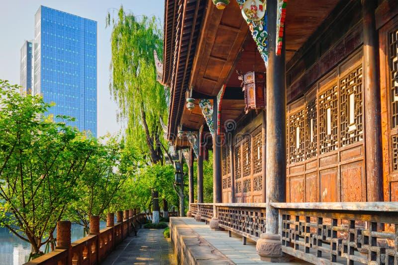 Павильон Wangjiang в парке Wangjianglou Chengdu, Sichuan, Китай стоковое фото