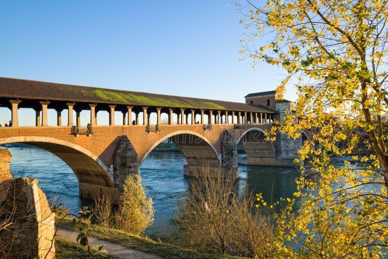 Павия - старый мост стоковая фотография
