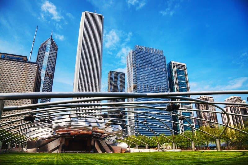 Павильон Джэй Pritzker в парке тысячелетия в Чикаго стоковое изображение