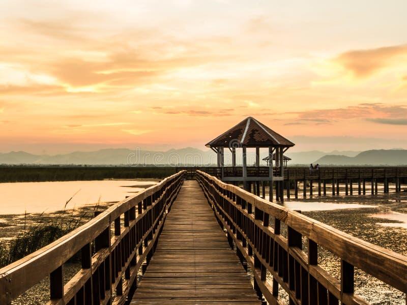 Павильон и мост через болото стоковая фотография rf