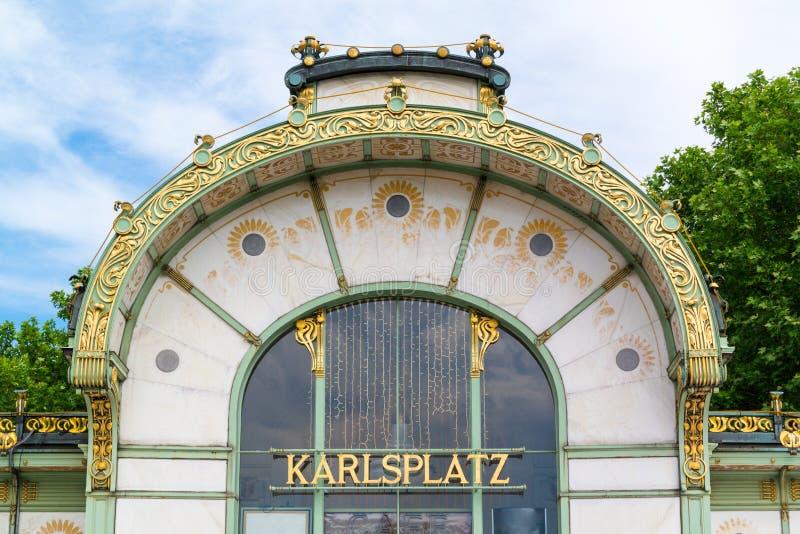 Павильон Stadtbahn на квадрате Karlsplatz в вене, Австрии стоковое изображение rf