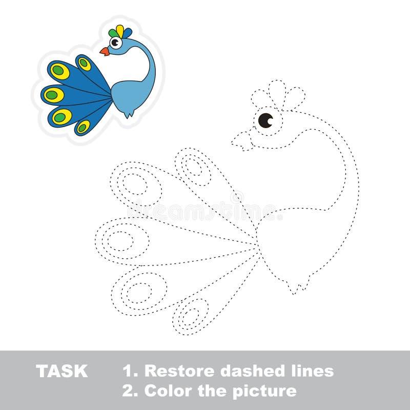 Павлин, который нужно следовать Игра трассировки вектора бесплатная иллюстрация