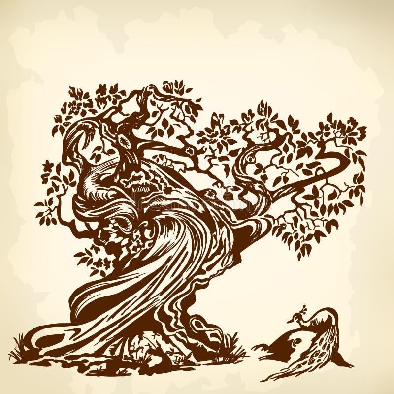 Павлин на коричневом цвете дерева иллюстрация штока