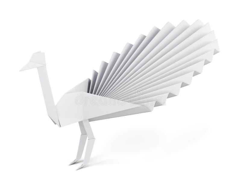 Павлин Origami сделанный из изолированной бумаги на белой предпосылке бесплатная иллюстрация