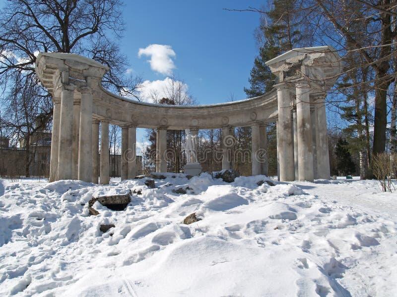 Павловск Колоннада Аполлона в парке зимы стоковое фото rf