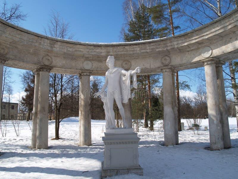 Павловск Колоннада Аполлон в зиме стоковые изображения rf