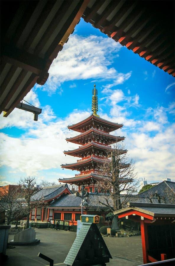 Пагода Японии на виске sensoji стоковая фотография rf
