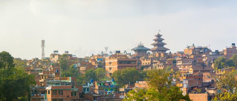 Пагода Nyatapola городского пейзажа Bhaktapur панорамная стоковое фото
