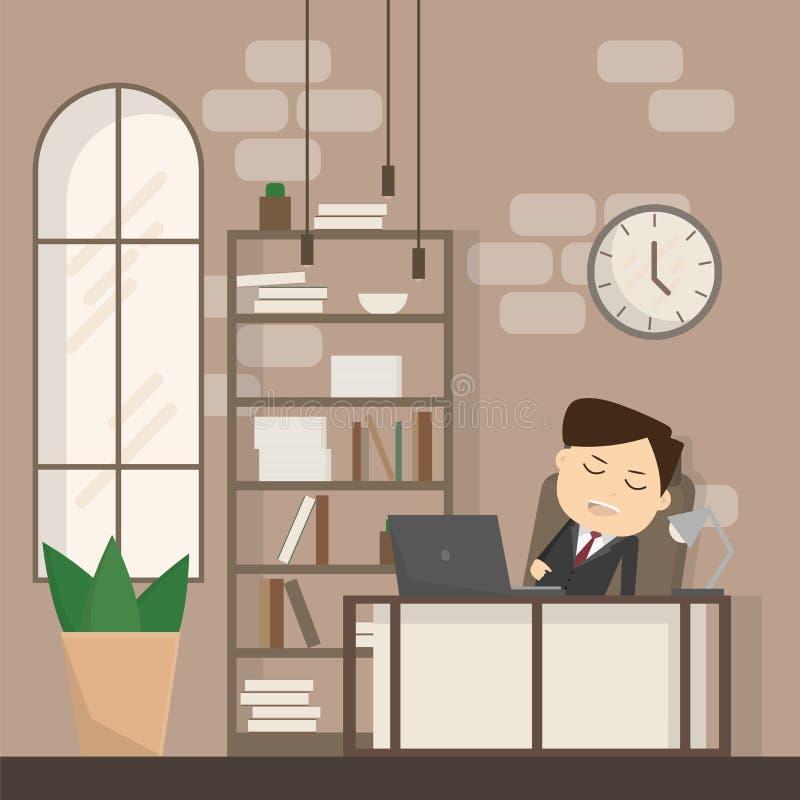 Падать бизнесмена уснувший на его работа, концепция дела в спать бесплатная иллюстрация