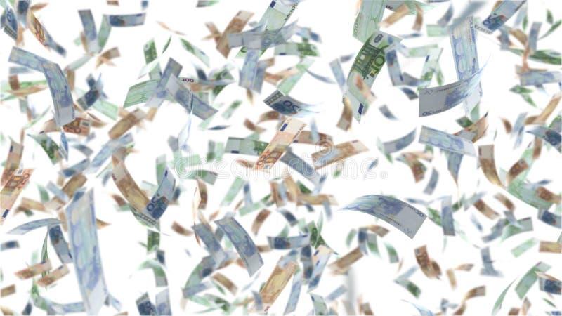 Падая бумажные деньги евро иллюстрация штока