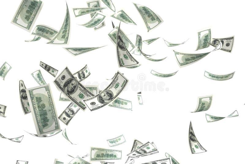 падая деньги 3d иллюстрация штока