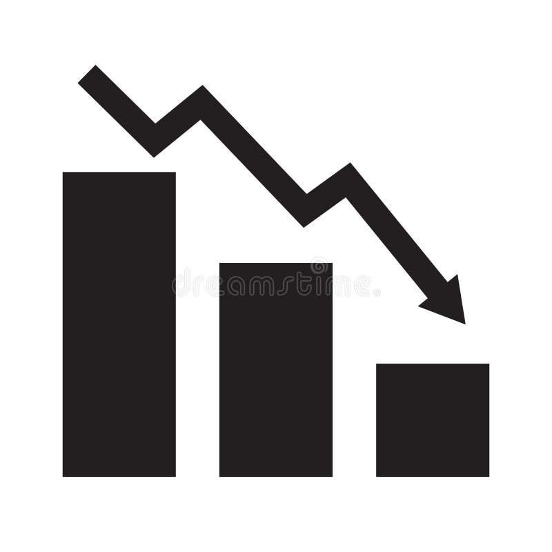 Падая значок диаграммы на белой предпосылке Плоский стиль падая значок для вашего дизайна вебсайта, логотип диаграммы, приложение иллюстрация штока